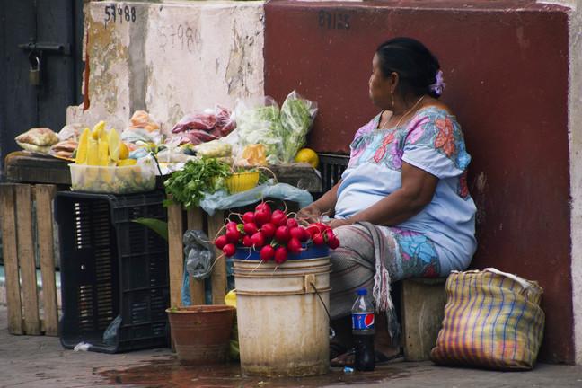naine müüb lilli