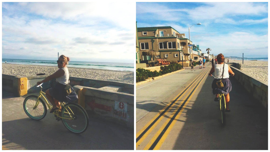 ranna ääres rattaga sõitmas